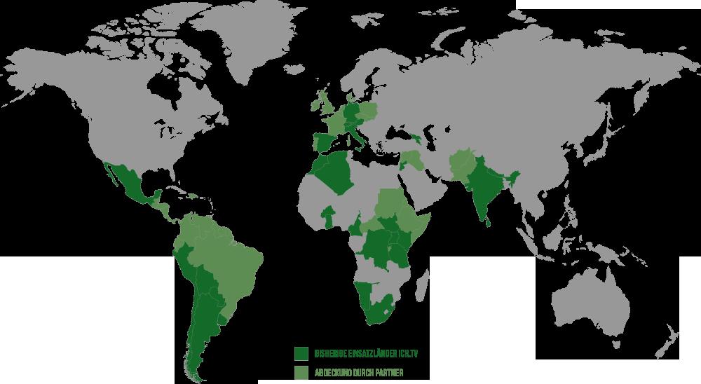 Bisherige Einsatzländer und internationale Abdeckung durch lokale Partner