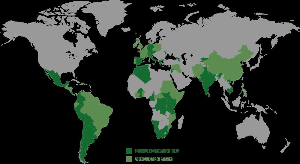 Weltkarte Abdeckung durch ich.tv und Partner